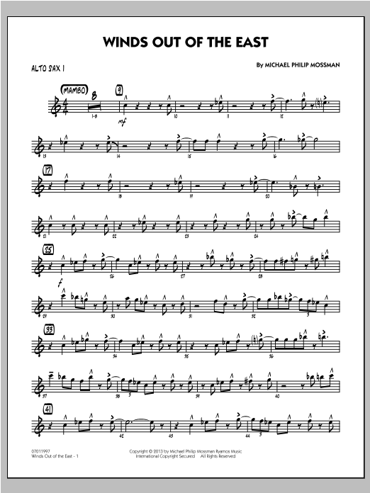 Winds Out Of The East - Alto Sax 1 Sheet Music
