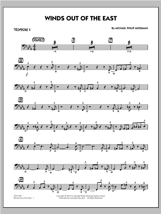 Winds Out Of The East - Trombone 4 Sheet Music