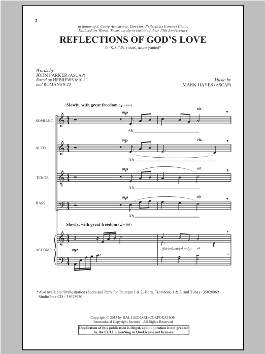 Partition chorale Reflections Of God's Love de John Parker - SATB