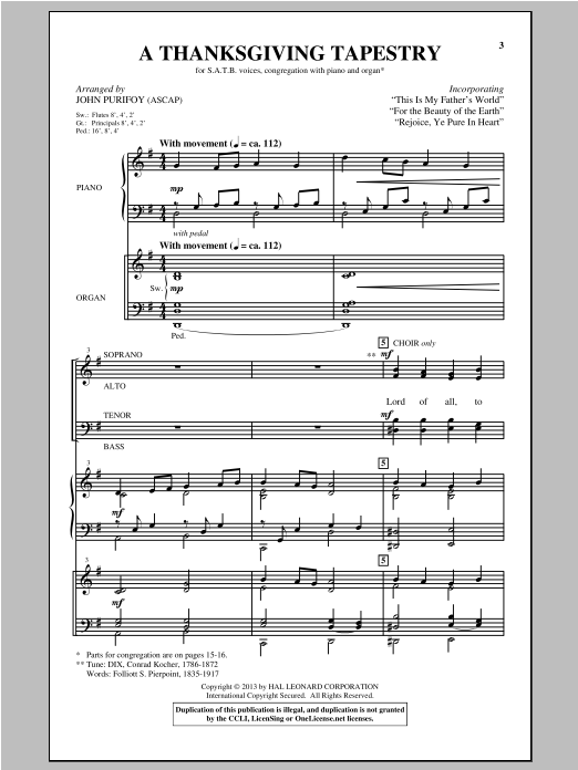 A Thanksgiving Tapestry Sheet Music