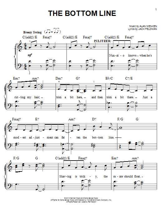 The Bottom Line (from Newsies) Sheet Music