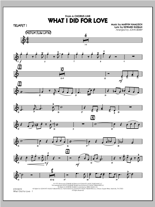 What I Did For Love - Trumpet 1 Sheet Music