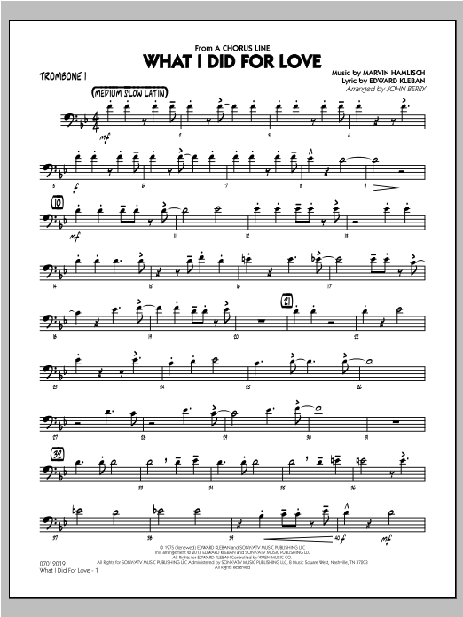 What I Did For Love - Trombone 1 Sheet Music