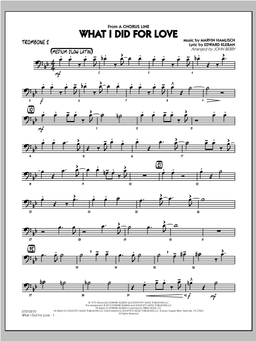 What I Did For Love - Trombone 2 Sheet Music