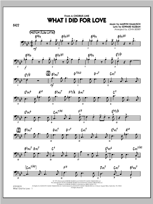 What I Did For Love - Bass Sheet Music