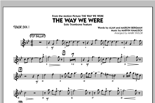The Way We Were - Tenor Sax 1 Sheet Music