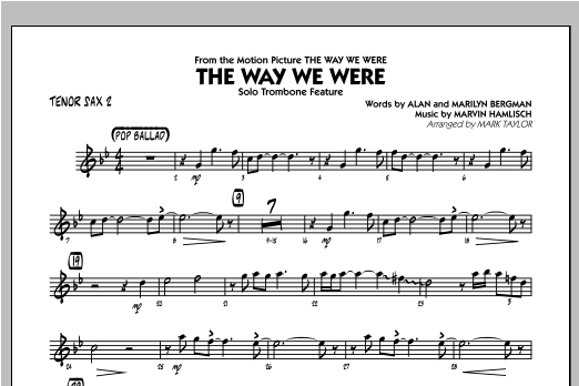 The Way We Were - Tenor Sax 2 Partition Digitale