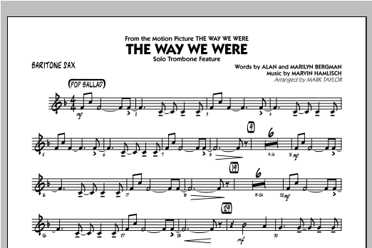 The Way We Were - Baritone Sax Sheet Music
