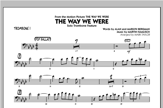 The Way We Were - Trombone 1 Sheet Music