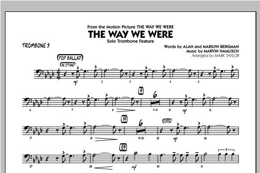 The Way We Were - Trombone 3 Sheet Music