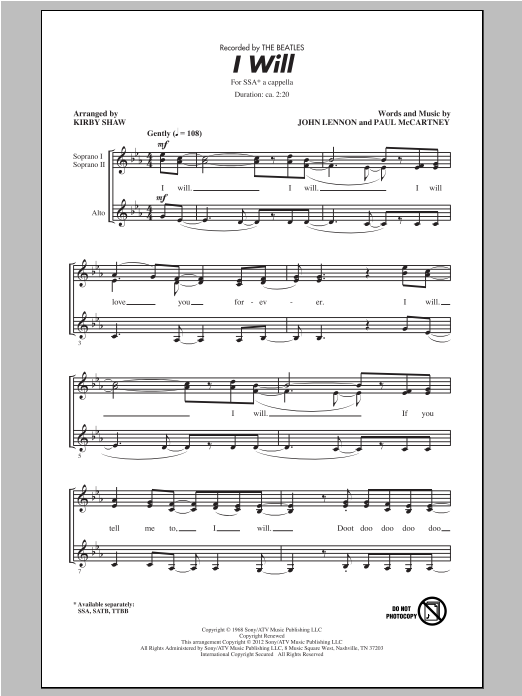 I Will (arr. Kirby Shaw) Sheet Music