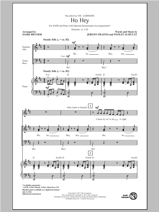 Partition chorale Ho Hey de The Lumineers - SATB