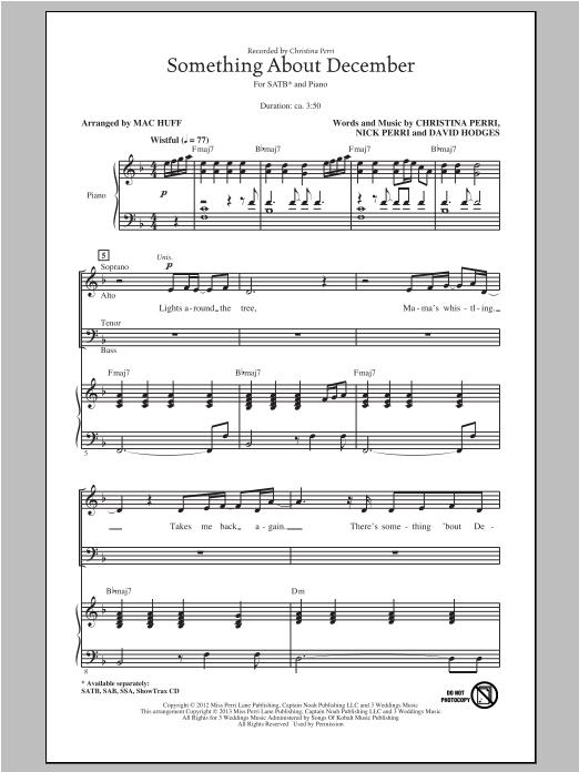 Partition chorale Something About December de Mac Huff - SATB