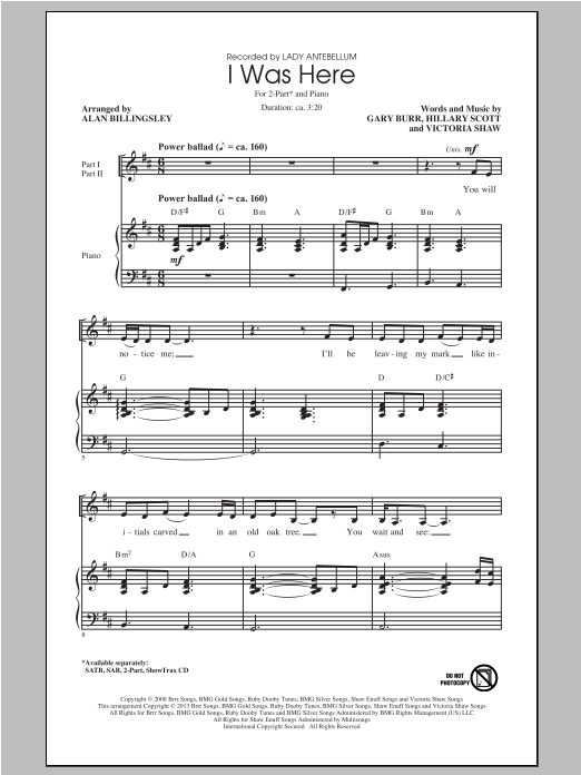 I Was Here (arr. Alan Billingsley) Sheet Music