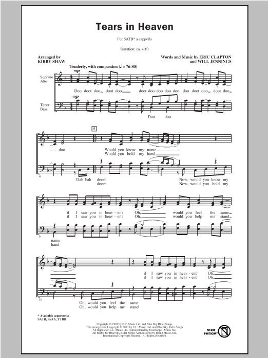 Tears In Heaven (arr. Kirby Shaw) Sheet Music