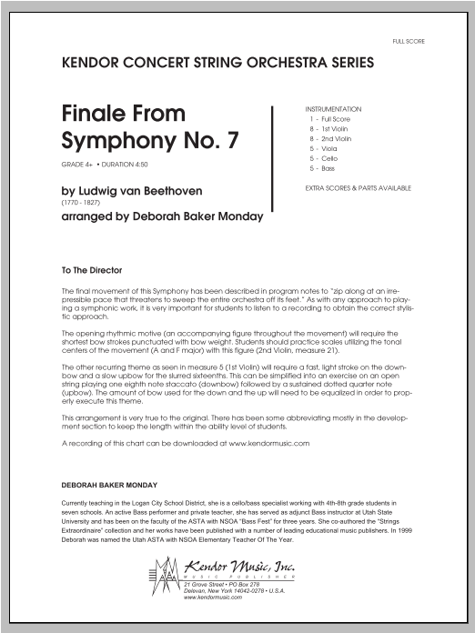 Finale From Symphony No. 7 (COMPLETE) sheet music for orchestra by Monday and Ludwig van Beethoven. Score Image Preview.