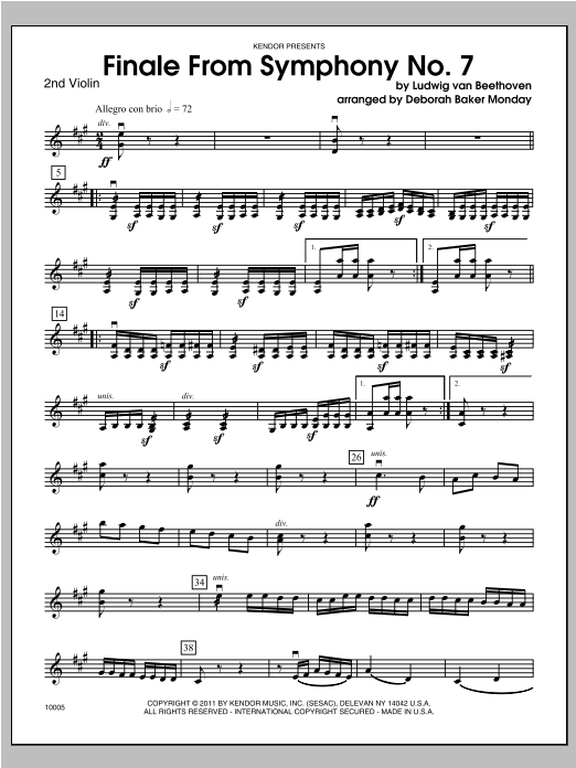 Finale From Symphony No. 7 - Violin 2 Sheet Music