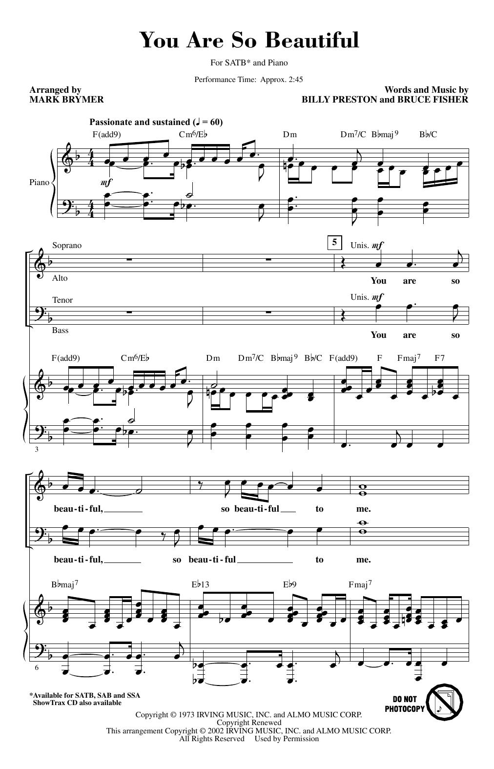 You Are So Beautiful (arr. Mark Brymer) (SATB Choir)