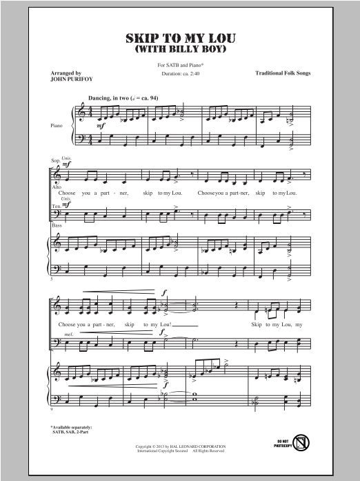 Billy Boy (arr. John Purifoy) Sheet Music