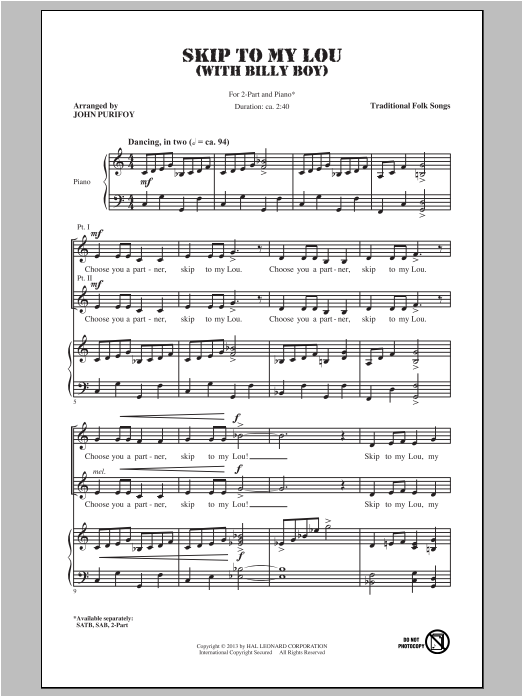 Billy Boy (arr. John Purifoy) (2-Part Choir)