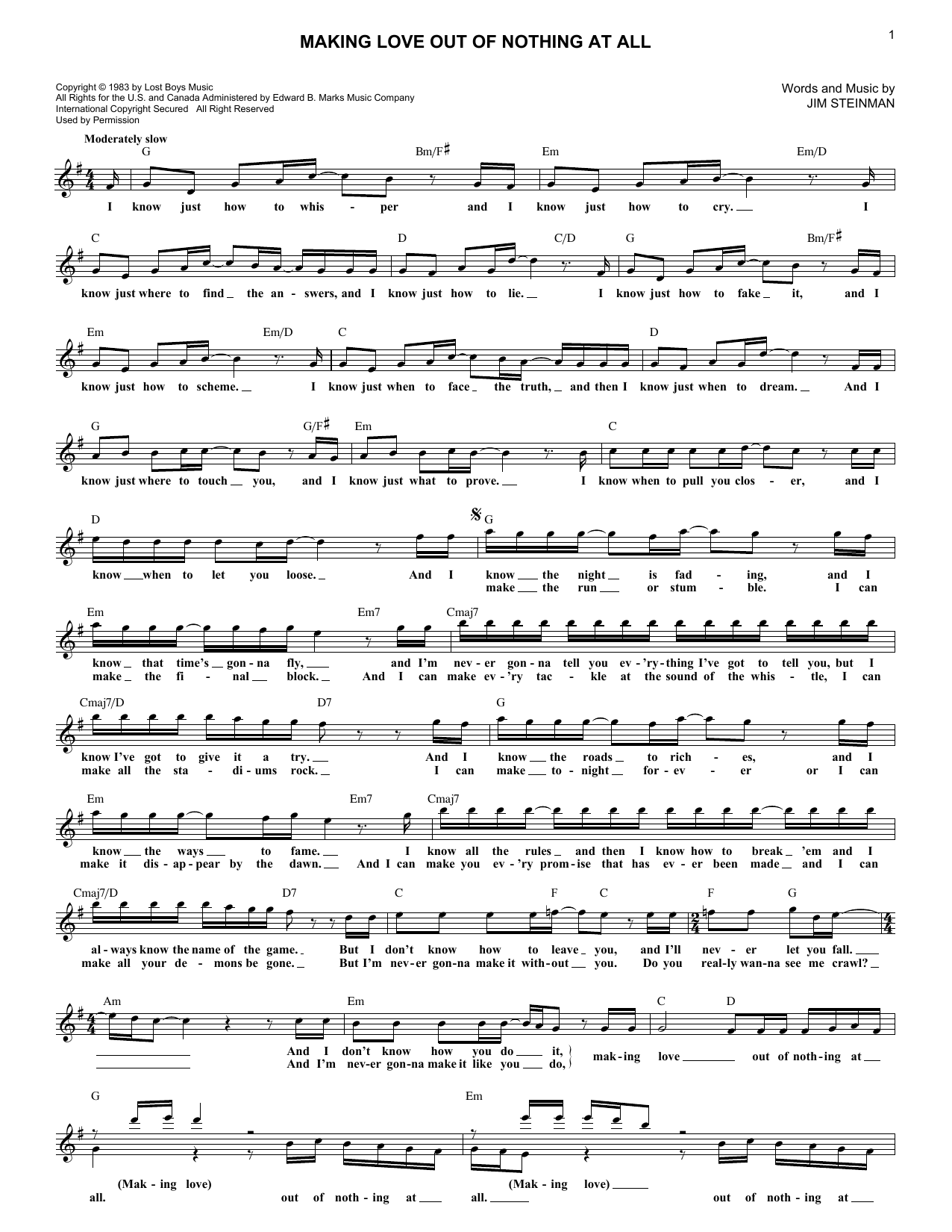 Making Love Out Of Nothing At All (Lead Sheet / Fake Book)