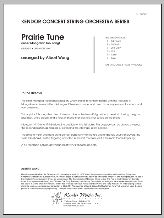 Prairie Tune (Inner Mongolian folk song) - Full Score Sheet Music