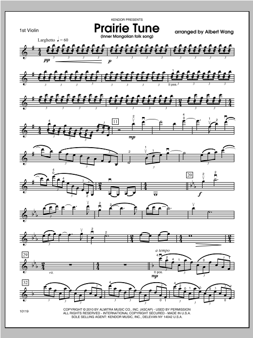 Prairie Tune (Inner Mongolian folk song) - Violin 1 Sheet Music
