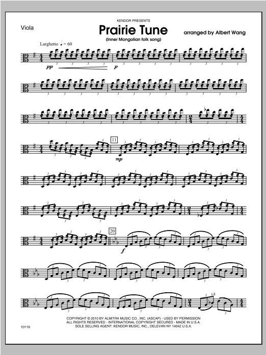Prairie Tune (Inner Mongolian folk song) - Viola Sheet Music