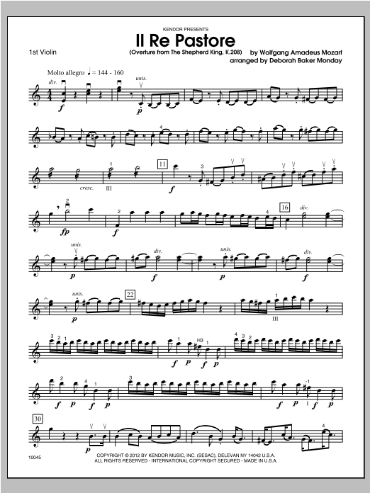 Il Re Pastore (Overture from The Shepherd King, K. 208) - Violin 1 Sheet Music