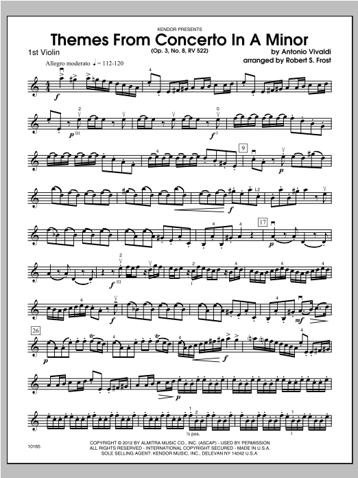 Themes From Concerto In A Minor (Op. 3, No. 8, RV 522) - Violin 1 Sheet Music