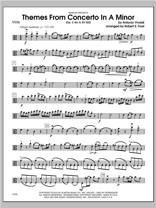 Themes From Concerto In A Minor (Op. 3, No. 8, RV 522) - Viola Sheet Music