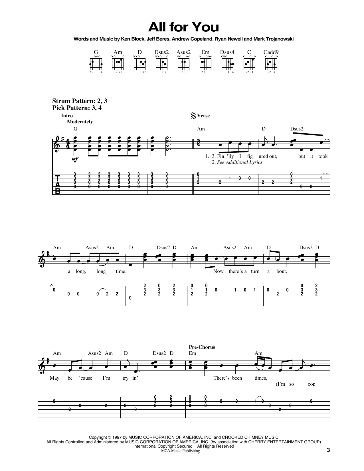 All For You (Easy Guitar Tab)