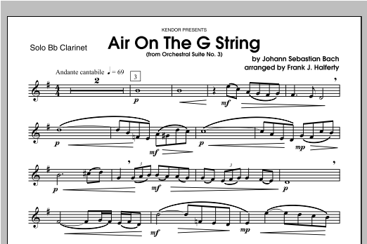 Air On The G String (from Orchestral Suite No. 3) - Clarinet Sheet Music