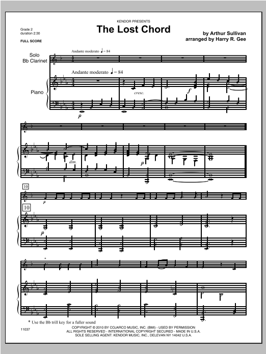 Lost Chord, The (COMPLETE) sheet music for clarinet and piano by Bee Gees and Sullivan. Score Image Preview.