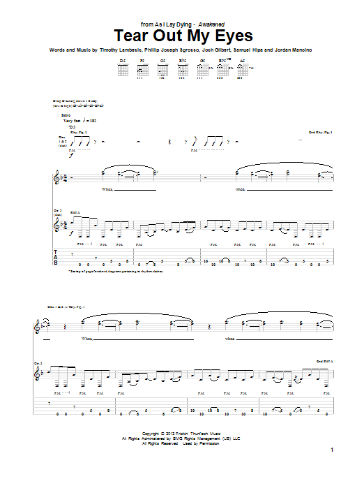 Tear Out My Eyes Sheet Music