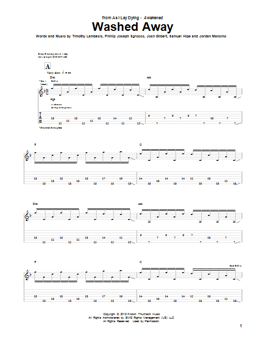 Tablature guitare Washed Away de As I Lay Dying - Tablature Guitare