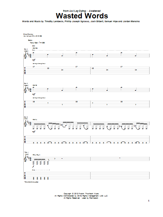 Tablature guitare Wasted Words de As I Lay Dying - Tablature Guitare