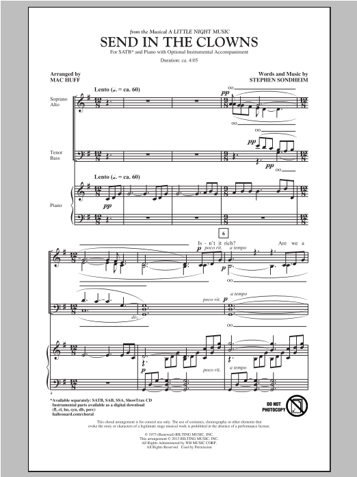 Partition chorale Send In The Clowns de Stephen Sondheim - SATB