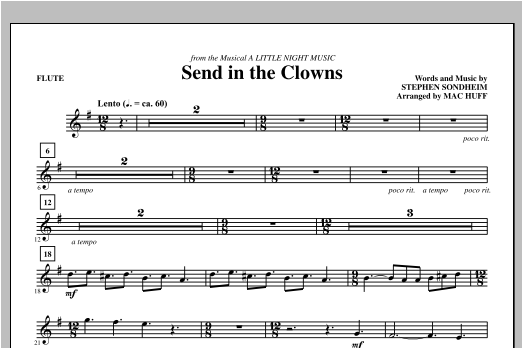 Send in the Clowns (complete set of parts) sheet music for orchestra/band by Mac Huff and Stephen Sondheim. Score Image Preview.