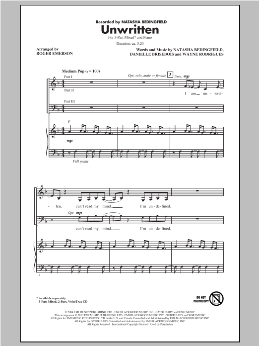 Unwritten (arr. Roger Emerson) Sheet Music