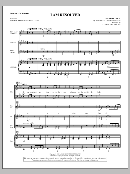 I Am Resolved (COMPLETE) sheet music for orchestra/band by Stan Pethel. Score Image Preview.
