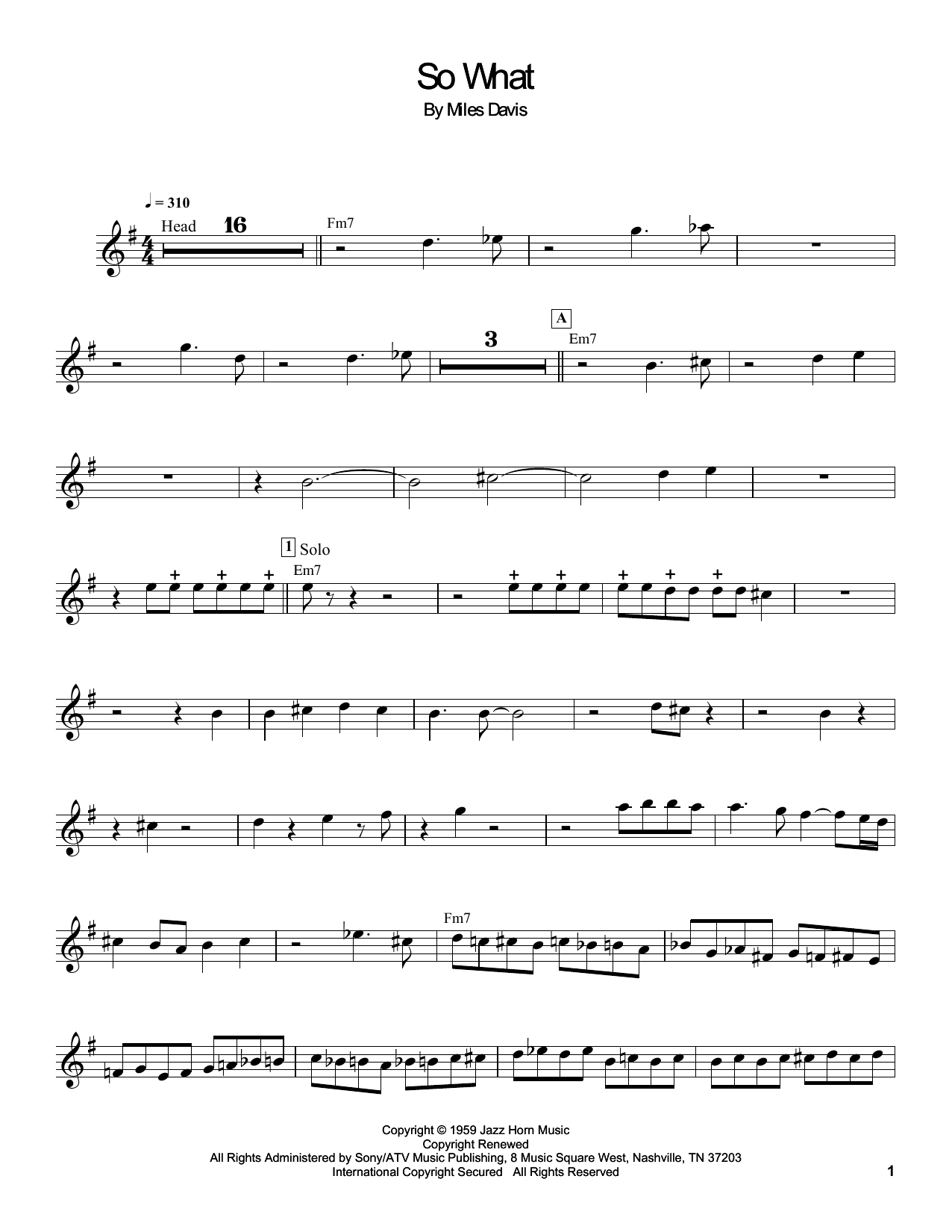 So What Sheet Music