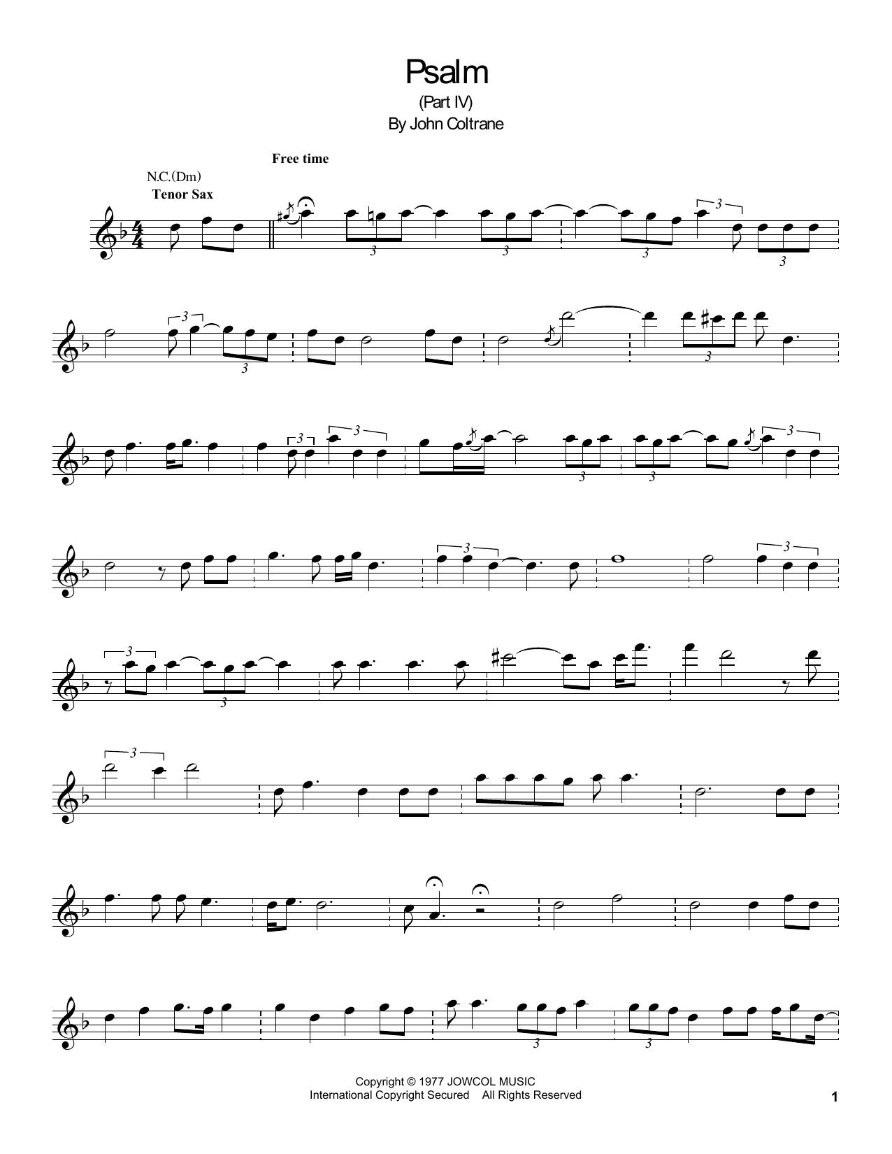 Psalm (Tenor Sax Transcription)