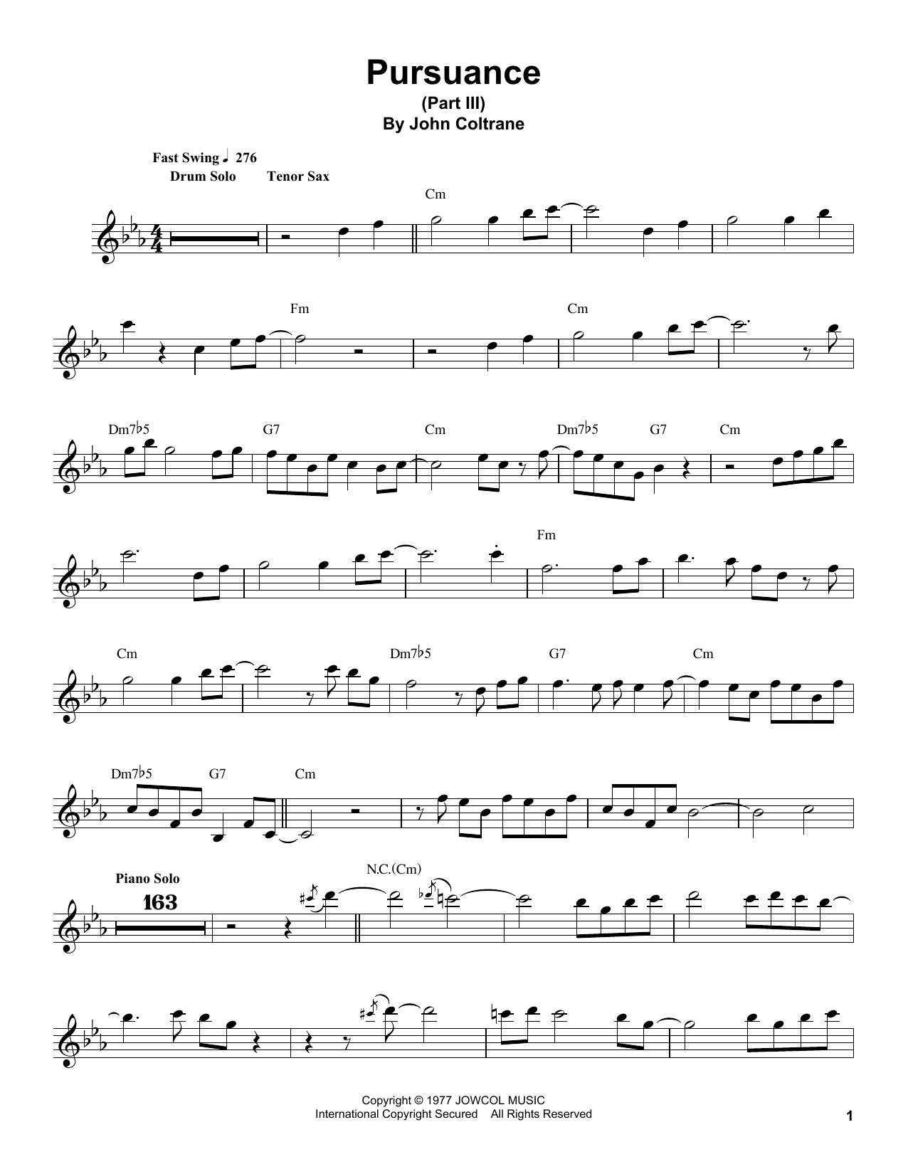Pursuance (Tenor Sax Transcription)