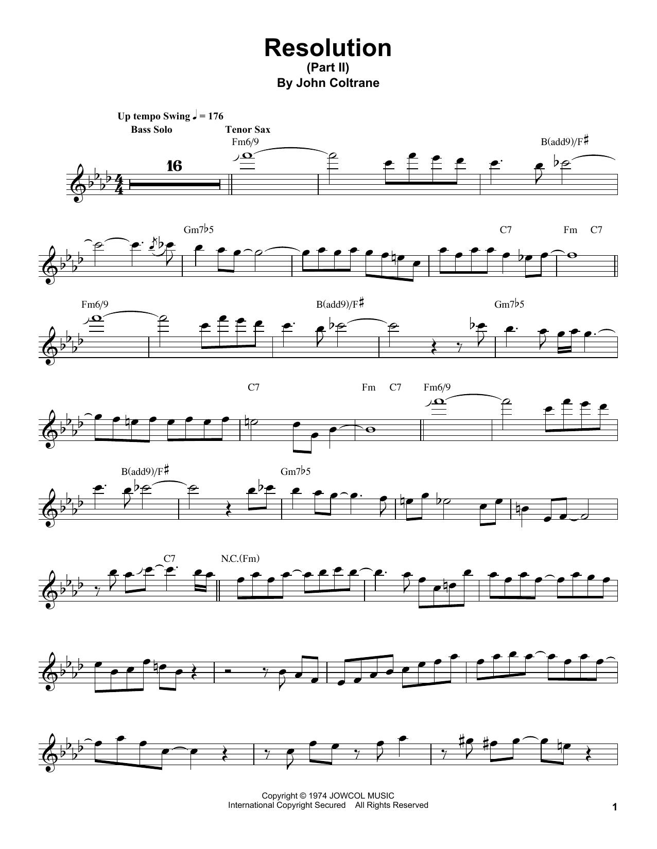 Resolution (Part II) (Tenor Sax Transcription)