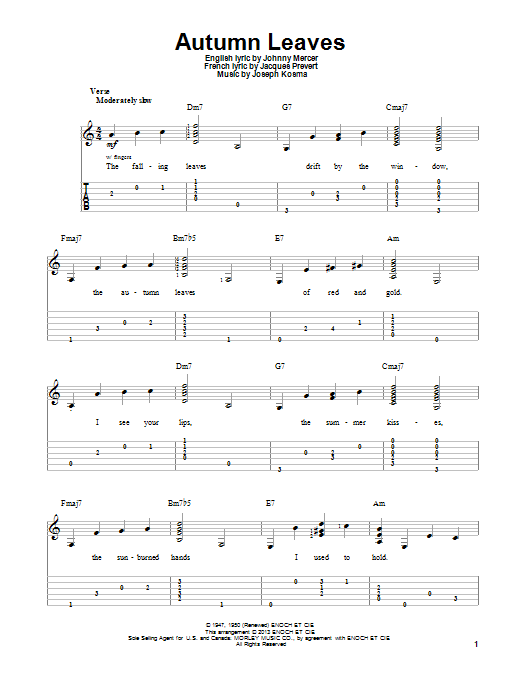 Autumn Leaves Guitar Tab by Joseph Kosma (Guitar Tab – 97113)