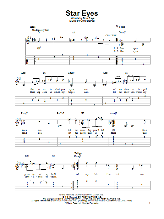 Tablature guitare Star Eyes de Charlie Parker - Tablature Guitare
