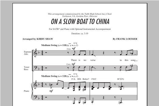Partition chorale On A Slow Boat To China de Kirby Shaw - SATB