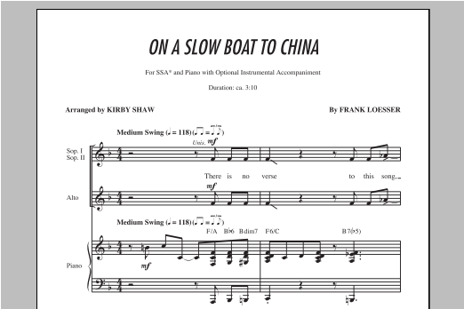 Partition chorale On A Slow Boat To China de Kirby Shaw - SSA