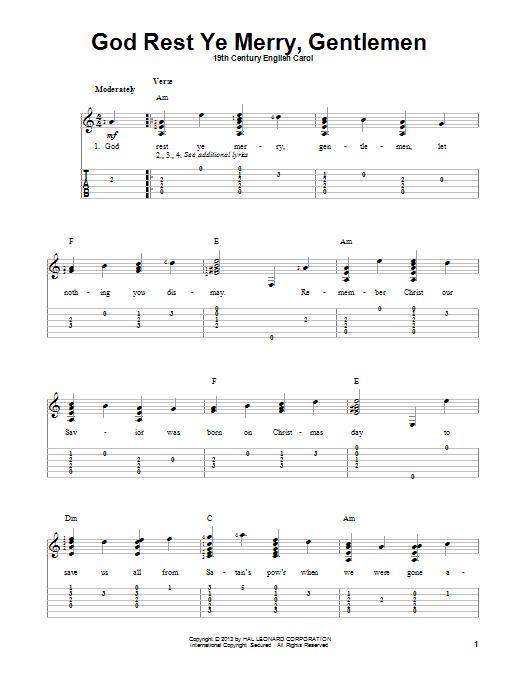 Tablature guitare God Rest Ye Merry, Gentlemen de 19th Century English Carol - Tablature Guitare